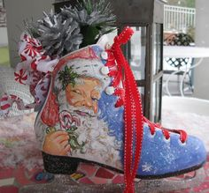 This hand painted one- of- a kind Santa Holiday skate will be sure to add charm to any room at Christmas time. Place on the mantel, add to a Painted Ice Skates, Painted Hats, Hand Painted, Xmas Crafts, Christmas Projects, Christmas Ideas, Christmas Decorations, Noel Christmas, Christmas Balls