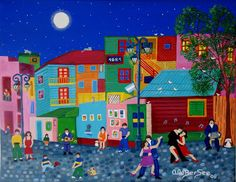 Art Naif- Dancing in the streets! Art Haïtien, Haitian Art, Art Populaire, Art Et Illustration, Naive Art, Colorful Paintings, Small Art, Artist Gallery, Color Of Life