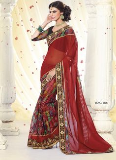Lace Border Work Touching Maroon Colour Fancy Half and Half Party Wear Saree