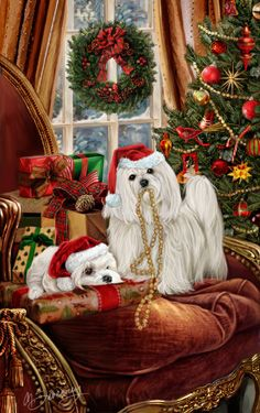 """New for 2015! Maltese Christmas Holiday Cards are 8 1/2"""" x 5 1/2"""" and come in packages of 12 cards. One design per package. All designs include envelopes, your personal message, and choice of greeting. Select the inside greeting of your choice from the menu below.Add your custom personal message to the Comments box during checkout."""