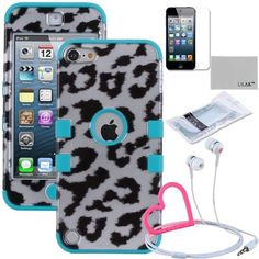 Pandamimi ULAK(TM) Hybrid 3 Layer Hard Skin with Silicone Shell Inside Case Cover for Apple iPod Touch Generation 5 and Free Screen Protector + Stylwire(TM) Pink Heart Stereo Headphone (Leopard Skin / Blue) by ULAK, http://www.amazon.com/dp/B00EE366FM/ref=cm_sw_r_pi_dp_et4asb05FPA90
