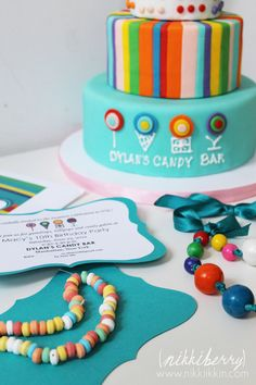 nikkiikkin dylans candy bar party cake and invitation 2
