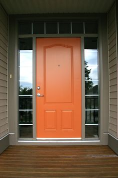 Another Orange Front Door Color by Benjamin Moore - Buttered Yam This would be beautiful with some plush green plants at the door Front Door Paint Colors, Exterior Paint Colors For House, Painted Front Doors, Paint Colors For Home, Exterior Colors, Paint Colours, Siding Colors, Exterior Design, Vibrant Colors