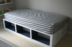 DIY~ How to Build a Storage Bed Frame for the Kids to Better Organize Their Room Kids Beds With Storage, Bed Frame With Storage, Diy Bed Frame, Bed Storage, Bed Frames, Murphy Bed Ikea, Murphy Bed Plans, Diy Daybed, Modern Murphy Beds