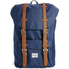 Herschel Little America Backpack in Navy (220 CAD) ❤ liked on Polyvore featuring bags, backpacks, blue backpack, navy blue backpack, knapsack bags, herschel bags and top handle bag