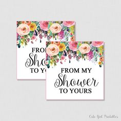 Floral Flowers Bridal Shower Favor Tags  Printable - Flowers Bridal Shoer Favor Tags - Thank you Tags - From My Shower To Yours 0001W