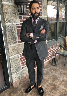 """angelbespoke: """"Last days of flannel suiting. Mens Fashion Suits, Grey Fashion, Work Fashion, Men's Fashion, Style Costume Homme, Tight Suit, Flannel Suit, Mode Costume, Most Stylish Men"""