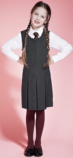 Girls' Longer Length Crease Resistant #Traditional_School_Pinafore with Permanent Pleats