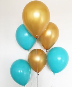 Blue and Gold Latex Balloons Blue Balloons Gold by OhhHowCharming