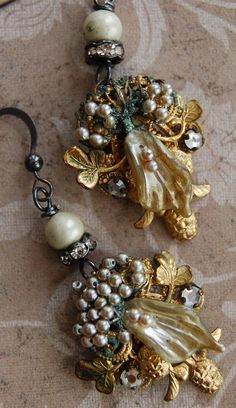 Wedding Cake-antique vintage reconstructed assemblage earrings