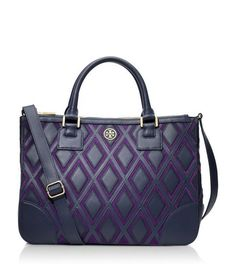 New obsession  Tory Burch Robinson Patchwork Double Zip Tote in Purple and  Navy 2280326c1406b