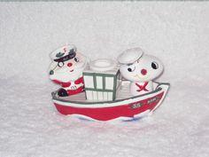 Vintage Christmas Santa Claus & Snowman Candle Holder  figurine Holt Howard Boat Ship NOEL Salt and Pepper Shakers RARE Japan porcelain 1959...