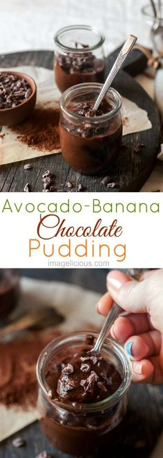 Avocado Banana Chocolate Pudding is intensely chocolate with a hint of banana and maple syrup. Healthy and delicious, no-one will ever guess that it has avocados and no butter or chocolate. Enjoy this healthy treat any time. It's vegan, raw, and gluten-free | Imagelicious