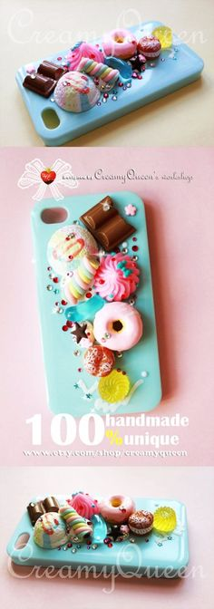 baby blue iphone4 case in handmade , Ice cream with Donuts , miniature fake food iphone4/4S cover www.loveitsomuch.com