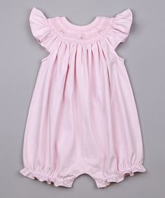 Look at this Pink Adell Smocked Pima Bubble Romper - Infant on #zulily today!