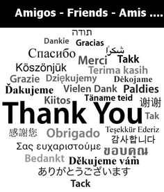 """""""Thank you"""" in different languages."""