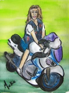Biker Chick Interpretation Charcoal and watercolors on canvas paper. Watercolor Canvas, A4 Size, Canvas Paper, Biker Chick, Watercolors, Disney Characters, Fictional Characters, Charcoal, Portraits