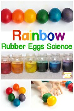 Rainbow Rubber Eggs Naked Egg Experiment - - Kids will love this rainbow variation on the classic naked eggs experiment. Don't just make naked rubber eggs, make rainbow rubber eggs! Science Projects For Kids, Science Activities For Kids, Stem Projects, Easter Activities, Elementary Science Fair Projects, Rainbow Activities, Science With Kids, Science Activities For Preschoolers, Letter E Activities