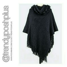 Textured Plush Fashion Poncho Color - Black  Fits Small - Large Sweaters Shrugs & Ponchos