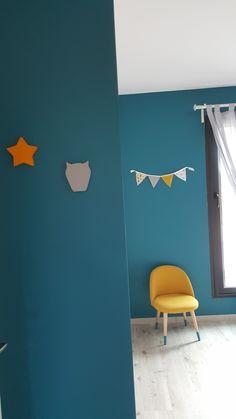 Chambre bébé garçon thème hibou jaune moutarde bleu canard   apubli ...