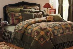 Tea Cabin Log Cabin Queen Quilt #bedding15 #Quilts #Tea-Cabin