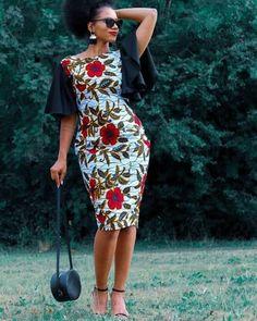 African clothing African fashion African print floral African wax print ankara fitted dress with fla African Dresses For Women, African Print Dresses, African Print Fashion, African Fashion Dresses, African Attire, African Wear, African Women, Fashion Skirts, Ankara Fashion