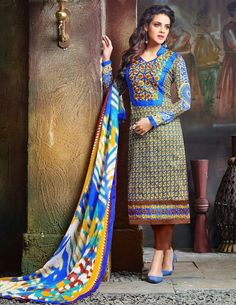 Cotton Multicolour Printed Unstitched Pant Style Suit - 9008