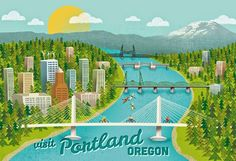 "illustrated by ""jennytiffany"" seen on vlinspiratie.blogspot.com #illustration  Roadtrip to U.S. Illustrations #pacificnorthwest   #pdx #portland  #oregon #travels #authentics"