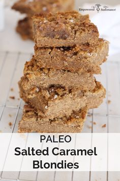Salted Caramel Paleo Blondies… i. golden nuggets of salty-sweet goodness! Paleo and AIP Source by empoweredfood Paleo Dessert, Healthy Sweets, Gluten Free Desserts, Dessert Recipes, Healthier Desserts, Paleo Bars, Healthy Brownies, Paleo Baking, Muffins