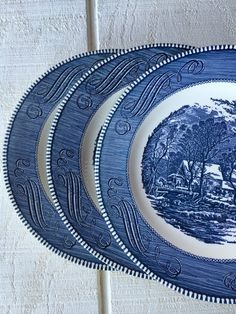 Vintage Blue and white plates Currier and Ives by 1350Northvintage
