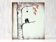Rustic Wood Signs Love Gift Wood Sign Love Bird Painting Aspen