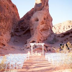 Outdoor desert ceremony | J. Anne Photography | www.theknot.com
