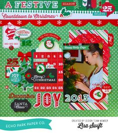 """A Festive Countdown to Christmas layout by Lisa Swift with the """"Christmas Cheer"""" collection by #echoparkpaper !"""