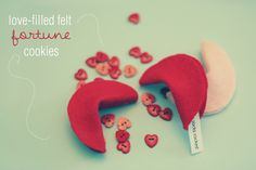 DIY Love Filled Felt Fortune Cookies for Valentines Day! Oooh, I might do this next year, as my BF doesn't really like fortune cookies :)) My Funny Valentine, Valentine Day Crafts, Holiday Crafts, Holiday Fun, Fun Crafts, Crafts For Kids, Holiday Ideas, Valentine Activities, Valentine Ideas