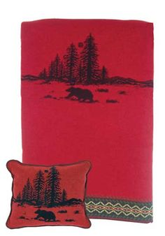 Wooded River Bear Pillow and Throw Set - - Great for Decorating - Great for Gift Giving  - Buy at Snugglebug Pillows and Throws www.snugglebugpillowsandthrows.com