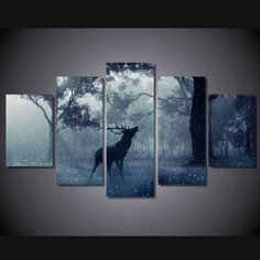 5 Pieces Multi Panel Modern Home Decor Framed Winter Rain Deer Wall Canvas Art