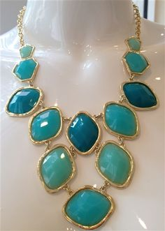 Turquoise Geo Necklace #statement #necklace #jewelry #turquoise #geometric #shapes #fun #gorgeous www.Shoplaurennicole.com