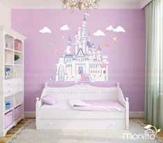 Disney Princess Castle with Colorful Birds and a Squirrel Large Wall Decal Sticker. Decal Size: Regular : x Large : x This listings Large Wall Stickers, Kids Room Wall Stickers, Nursery Wall Decals, Princess Bedrooms, Princess Nursery, Little Girls Playroom, Disney Princess Castle, Frozen Bedroom, Girl Room