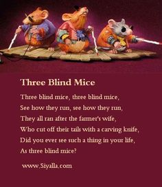 Three Blind Mice - Nursery Rhymes ~ Kids Poems - Poems for Kids, Best ...