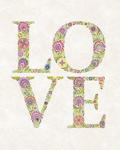 Folk Art Print LOVE done in Wycinanki Style-Blossom by Groovity