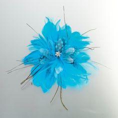Feather Hair Clip-Aqua