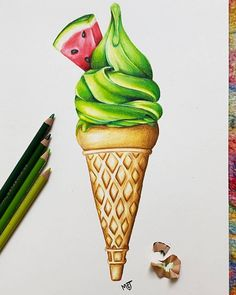 """335 mentions J'aime, 7 commentaires - Artworks Of The World (@artworksoftheworld) sur Instagram: """"❤️Amazing🍉Watermelon Ice Cream  Drawing💚 👍🏻What do you think?👎🏻 ↘️Comment beloW⬇️…"""" Art Drawings Sketches Simple, Realistic Drawings, Colorful Drawings, Amazing Drawings, Colored Pencil Artwork, Color Pencil Art, Pencil Art Drawings, Marker Art, Painting & Drawing"""
