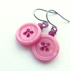 Pink Flambe Vintage Button Dangle Earrings by buttonsoupjewelry, $7.00