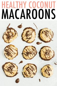 These coconut macaroons are loaded with coconut flavor and sweetened only with pure maple syrup. Theyre perfect for when youre craving something sweet but want to stick with your healthy eating goals! Paleo-friendly gluten-free and vegan. Paleo Dessert, Gluten Free Desserts, Vegan Desserts, Vegan Sweets, Vegan Food, Detox Recipes, Vegan Recipes, Snack Recipes, Dessert Recipes