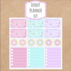 Pastel Donut Planner Kit, Doughnut Stickers, Sprinkles Stickers, Donut Stickers, Erin Condren Boxes, Pastel, Kawaii Stickers, Half Boxes