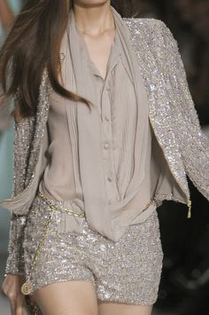 taupe sequined outfit