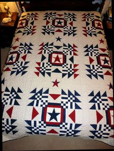 SALE: Americana Red White and Blue Queen Size by OwlCountryQuilts