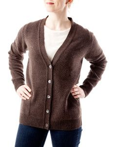 Winter & Bract's 2-Ply Cardigan with Pockets (in 'Moose').  Born in Wyoming, Made in Scotland - only the world's finest 100% Cashmere