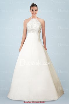 New Arrival Halter Neckline Wedding Dress with Shimmering Exquisite Beaded Applique - LOVE THIS!!