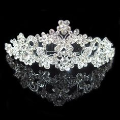 Bridal Princess Rhinestones Crystal Wedding Tiara Crown (Butterfly) *** Continue to the product at the image link.